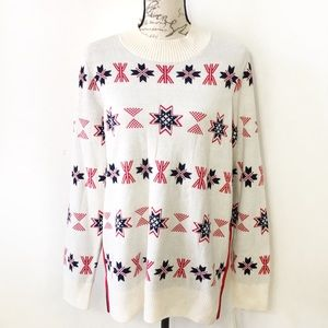 Nordic Pullover Holiday Knit Long Sleve Sweater L